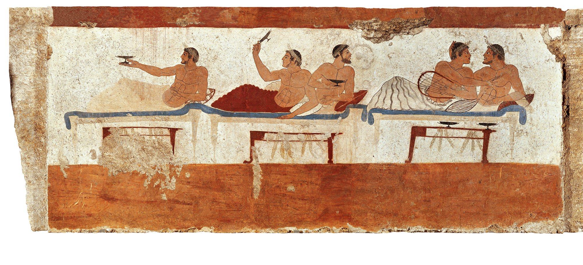 Tumba del Nadador, próxima a Poseidonia (Paestum), colonia de Síbaris, freso de un banquete. 480-470 a.C. Museo Arqueológico de Paestum.